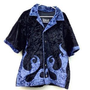 Vintage Fuzzy Flame Button Down Shirt